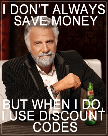 Save discount codes by interesting man