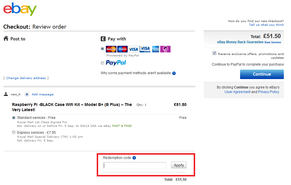 How to use Ebay discount code