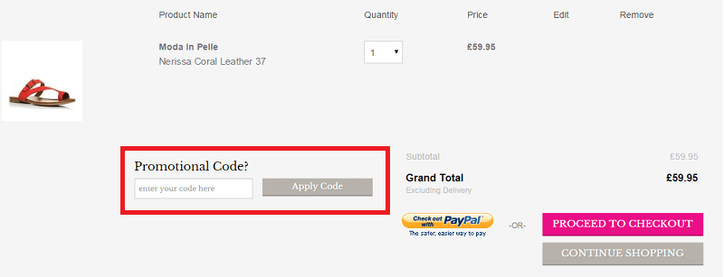 how to use moda in pelle discount code