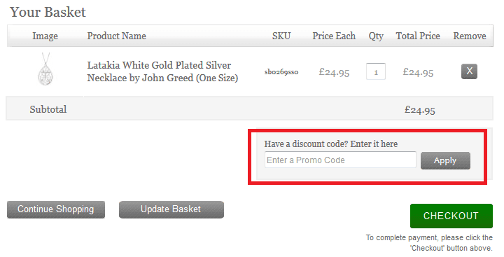 How to use John Greed Jewellery Discount Code